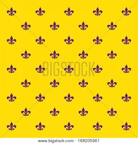 Mardi Gras holiday background with Fleur De Lis sign pattern. Vector illustration.