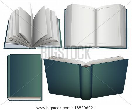 Set hardcover open and close book. Isolated on white vector illustration