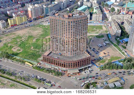 SHENYANG, CHINA - JUL. 29, 2012: Shenyang Kempinski Hotel in downtown Shenyang, Liaoning Province, China. Photo taken from the top of Liaoning Broadcast and TV Tower, downtown Shenyang, China.