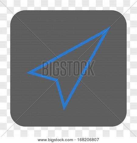 Pointer Right Up interface toolbar button. Vector icon style is a flat symbol inside a rounded square button blue and gray colors chess transparent background.