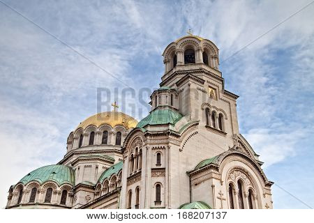 Alexander Nevsky cathedral in Sofia, Bulgaria, whit blue sky background.