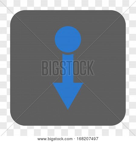 Pull Down interface toolbar button. Vector icon style is a flat symbol inside a rounded square button blue and gray colors chess transparent background.