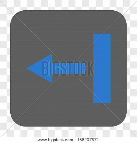 Pull Left interface toolbar button. Vector icon style is a flat symbol on a rounded square button blue and gray colors chess transparent background.