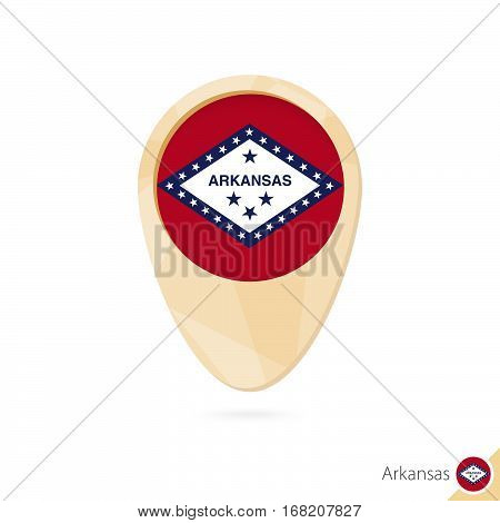 Map Pointer With Flag Of Arkansas. Orange Abstract Map Icon.