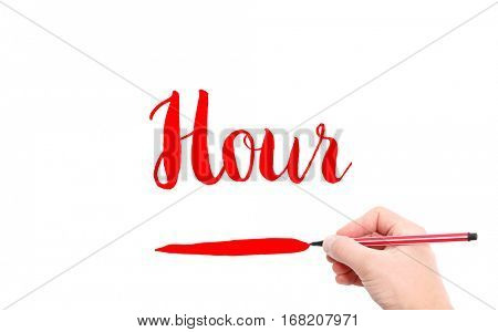The word of Hour written by hand on a white background