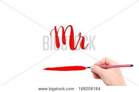 The word of Mr written by hand on a white background