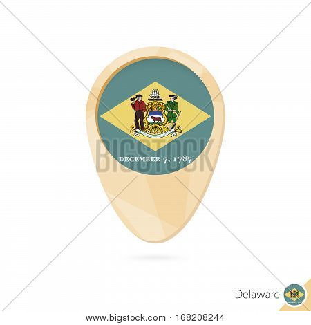 Map Pointer With Flag Of Delaware. Orange Abstract Map Icon.