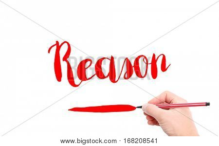 The word of Reason written by hand on a white background
