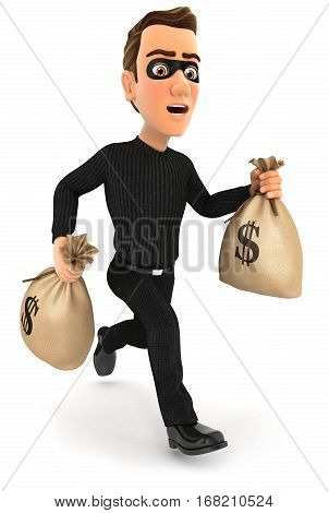 3d thief running with bags of money illustration with isolated white background