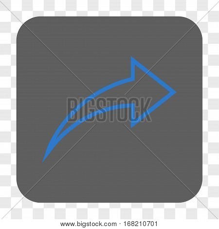 Redo interface toolbar button. Vector icon style is a flat symbol in a rounded square button blue and gray colors chess transparent background.