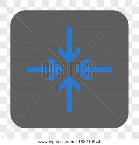 Reduce Arrows interface toolbar button. Vector icon style is a flat symbol on a rounded square button blue and gray colors chess transparent background.
