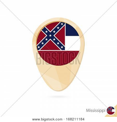 Map Pointer With Flag Of Mississippi. Orange Abstract Map Icon.