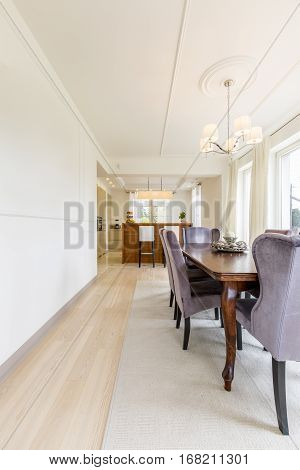 Bright Dining Room With Modern Kitchen