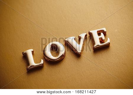 Single Word love Gold Lettering Image &