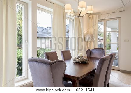 Dining Room With Big, Wooden Table