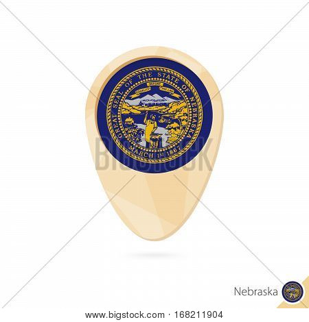 Map Pointer With Flag Of Nebraska. Orange Abstract Map Icon.