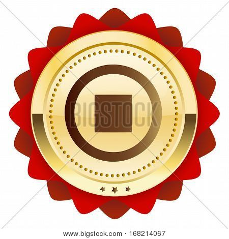 Pause seal or icon with pause symbol. Glossy golden seal or button.