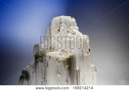 Macro of a Selenite pillar with a bright light inside. A beautifully textured effect came out off the picture.