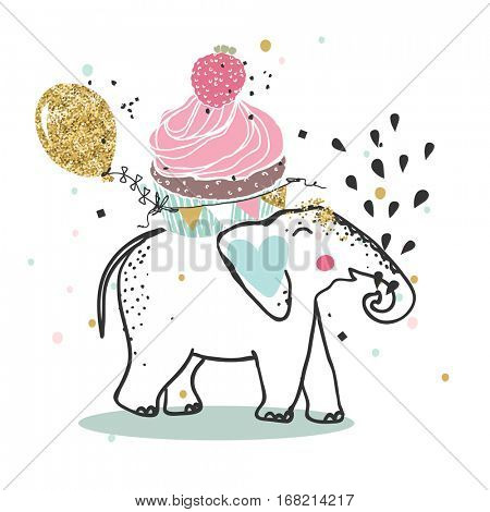 elephant with giant cupcake