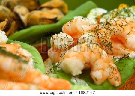 Open Seafood Sandwiches - Prawns And Mussels.
