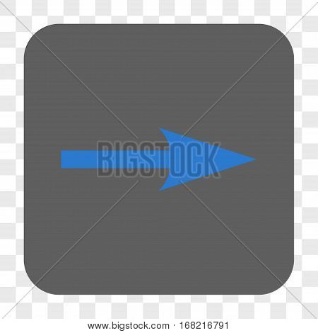 Sharp Arrow Right interface toolbar button. Vector icon style is a flat symbol on a rounded square button blue and gray colors chess transparent background.