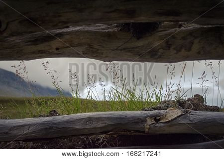 See through from inside the Sami hut in Sarek funny perspective