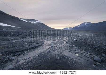 Desolate stone field giving feeling of emptiness in Sarek