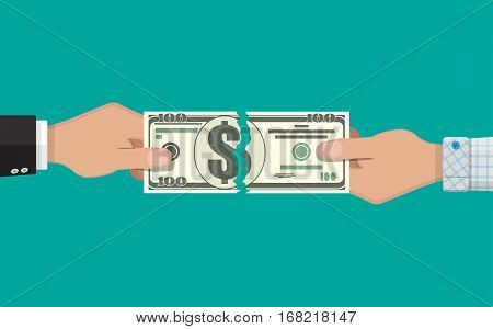 businessman hands tearing apart money banknote into two peaces. vector illustration in flat design