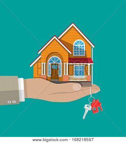 Hand with small house and keys, Buying or selling a house, real estate. vector illustration in flat style