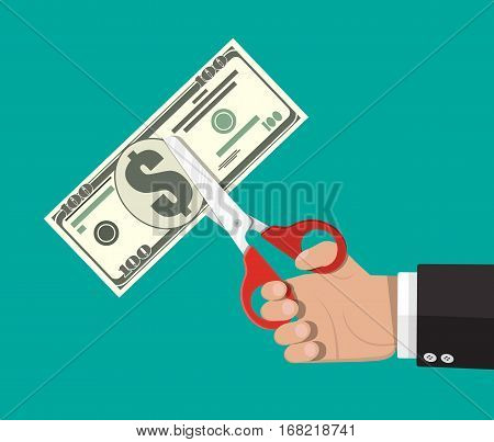 Businessman with scissors cutting dollar banknote. Vector illustration in flat style