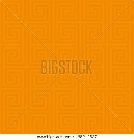 Orange Classic meander seamless pattern. Greek key neutral tileable linear vector background.