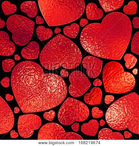 Seamless ruby hearts on black background.