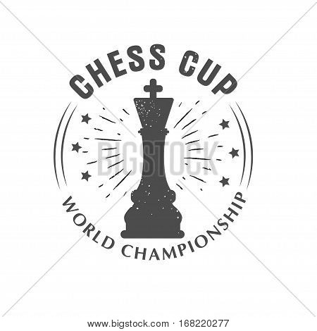 Vector logo chess king, Queen. Sport championship. Badge isolated on white background.