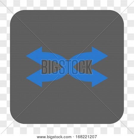Shuffle Arrows Horizontal interface toolbar button. Vector icon style is a flat symbol on a rounded square button blue and gray colors chess transparent background.