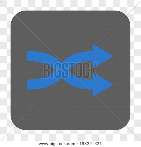 Shuffle Arrows Right interface toolbar button. Vector icon style is a flat symbol inside a rounded square button blue and gray colors chess transparent background.