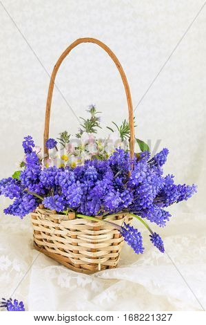 Bluebell And Spring Flowers Bouquet In Wicker Basket