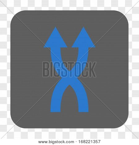 Shuffle Arrows Up interface toolbar button. Vector icon style is a flat symbol inside a rounded square button blue and gray colors chess transparent background.
