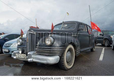 SAINT PETERSBURG, RUSSIA - SEPTEMBER 04, 2016: Soviet post-war passenger Executive class car ZIS-110 in the Parking lot. The parade of retro transport in Kronstadt