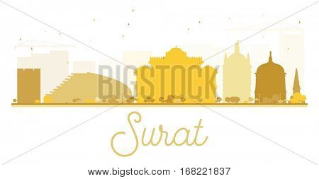 Surat City skyline golden silhouette. Simple flat concept for tourism presentation, banner, placard or web site. Cityscape with landmarks.