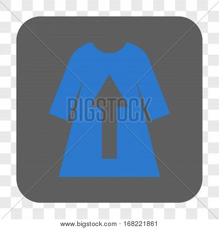 Take Off Female Dress interface toolbar button. Vector icon style is a flat symbol on a rounded square button blue and gray colors chess transparent background.