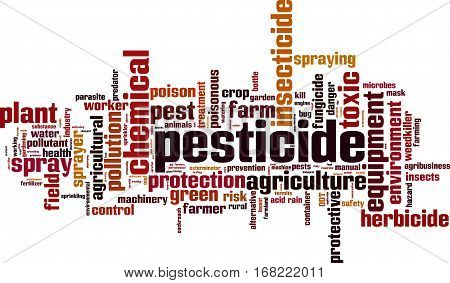 Pesticide word cloud concept. Vector illustration on white poster