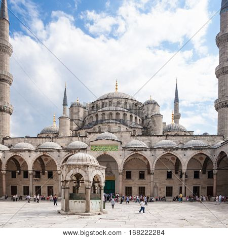 Courtyard Of Blue Mosque In Istanbul City