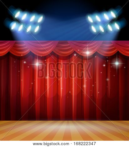 Background scene with light and red curtains on stage illustration