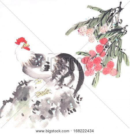 rooster and Litchi drawn in chinese painting style,mean good bless