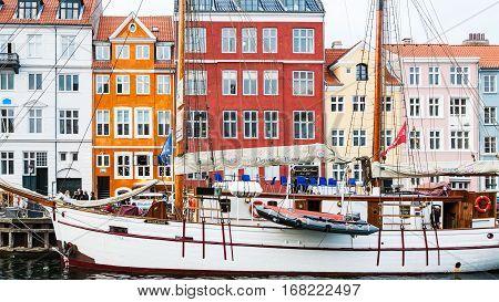 Sailing Boat In Nyhavn Port In Copenhagen