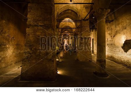 Interior Of Ancient Nakkas Cistern In Istanbul