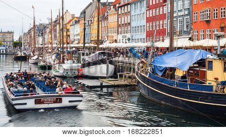 Boat Excursion In Nyhavn Port In Copenhagen