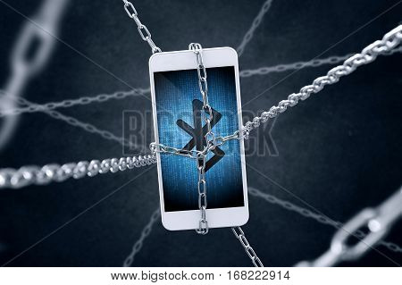 Chained Smartphone With Bluetooth Symbol. Conception Of Data Security