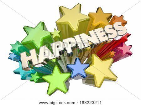 Happiness Joy Emotion Glad Happy Word Stars 3d Illustration