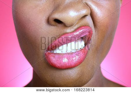 Close up of woman making a face